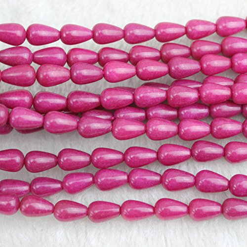- 8x12mm Teardrop Rose Red Chalcedony Beads Semi Precious Loose Gemstones Stones for Jewelry Making Strand 15 Inch (31-33pcs)