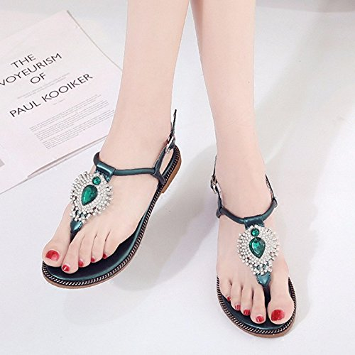 beach clip a Summer with slotted flat The green toe clip XIAOGEGE water base female sandals the drill sandals 61PdA4qW