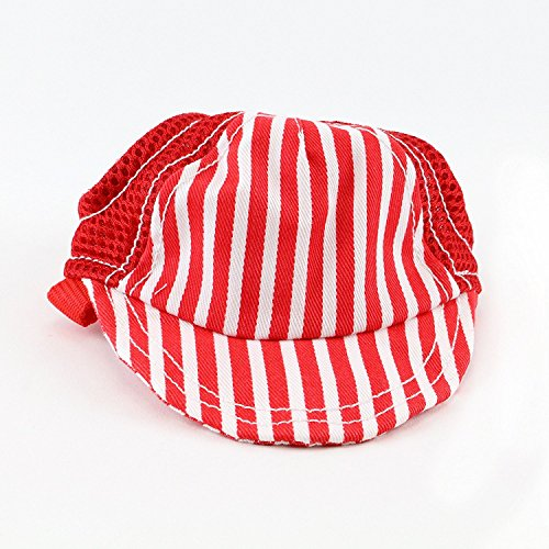 Striped Baseball Dog Hat 14-19'' Adjustable Chin Strap by Midlee (Large, Red) by Midlee