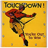 3dRose DPP_173921_1 Image of Football Touchdown Vintage Wall Clock, 10 by 10-Inch