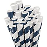 Aardvark Paper Straws Jumbo Straw Unwrapped Paper Product, 7.75-Inch, Navy Blue and White Striped