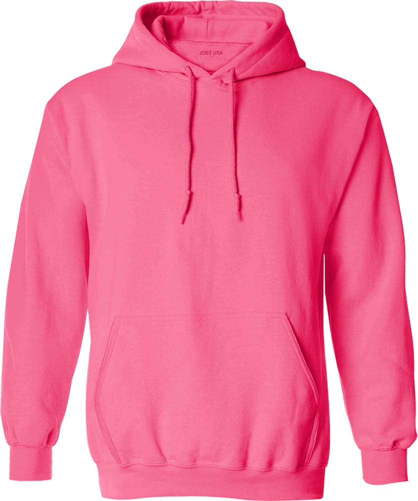Joe's USA Hoodies - Mens Hooded Sweatshirts-Neon.Pink-L by Joe's USA