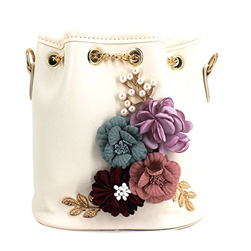 beige Cactus Bag Plant Chain Bag Leather PU Printing Embroidery Shoulder Women Drawstring X Bucket qWFBpTFOw