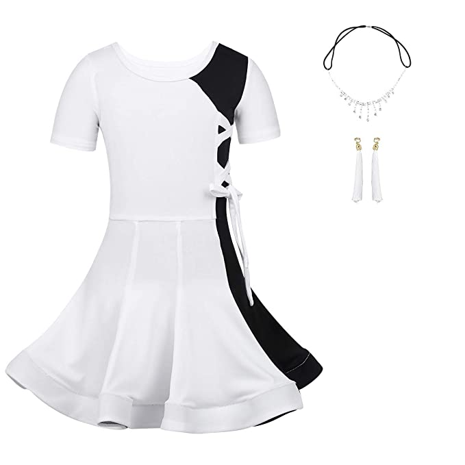 iEFiEL Kids Girls Dancewear Outfit Irregular Tassel Latin Salsa Tango Dance Dress Costumes