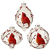 "RAZ Imports - Graphic Woodland - 4"" Snowy Cardinal Christmas Tree Ornaments - Set of 3"