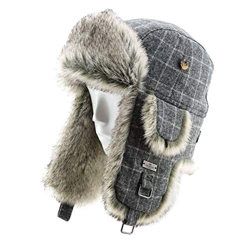 FUR WINTER Wool Blend Diamond Check Plaid Faux Fur Aviator Bomber Trapper Trooper Hat GRY L/XL