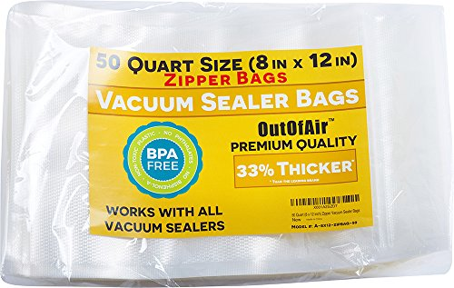 50 Zipper Vacuum Sealer Bags: Quart Size (8