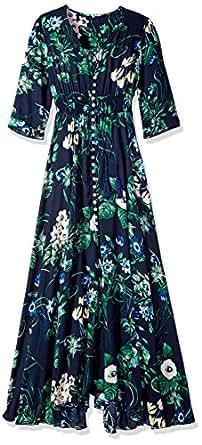 Milumia Women's Button Up Split Floral Print Flowy Party Maxi Dress Navy XS