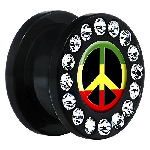 BodyCandy Acrílico Negro Rasta Símbolo De La Paz Pendiente Dilatador Par 9/16