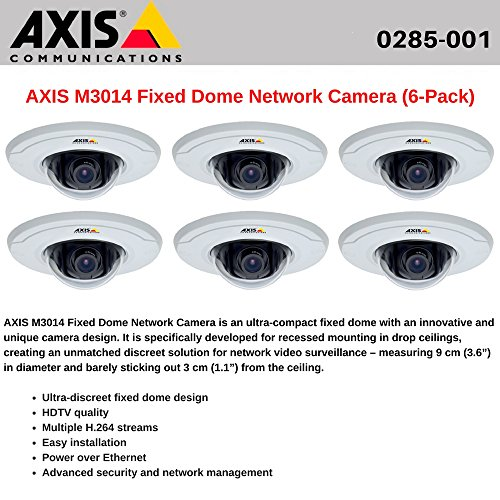 AXIS M3014 (6-Pack) Fixed Dome Network Camera, HDTV quality, Power over Ethernet Axis M3014 Fixed Dome