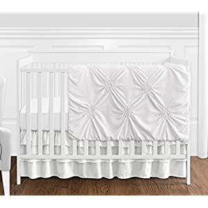 Solid Color White Shabby Chic Harper Baby Girl Crib Bedding Set by Sweet Jojo Designs – 4 Pieces