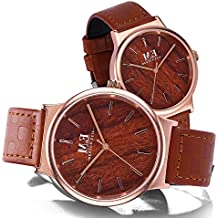 Couple Watches for Men and Women, Quartz Analog Wristwatches with Classic Leather Straps, Anniversary Gift Set (Brown)