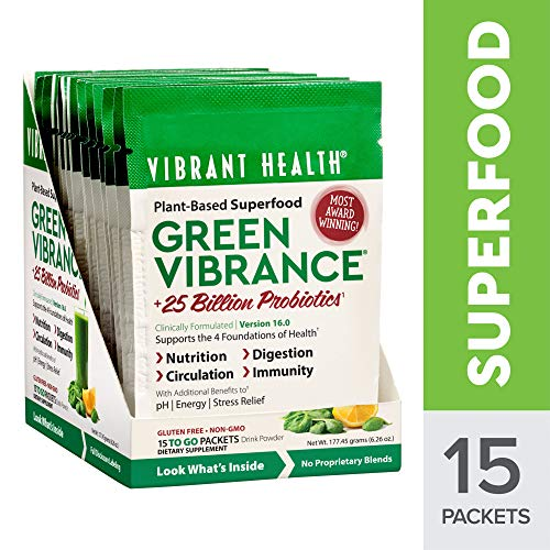 Vibrant Health - Green VibrancePlant-Based Superfood to Support ImmunityDigestionand Energy with Over 70 Ingredients25 Billion ProbioticsGluten Free Non-GMOVegetarian 15 Packets