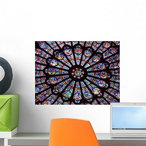 (Wallmonkeys Stained-Glass Window in Notre-Dame Cathedral Wall Decal Peel and Stick Graphic WM90008 (18 in W x 14 in H))