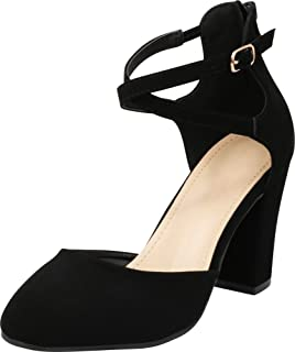 11f8ed81ee3 Cambridge Select Women s Closed Toe D Orsay Crisscross Ankle Strap Back Zip  Chunky Block High