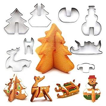 sadqwdf 8 Piezas de Acero Inoxidable 3D árbol de Navidad Elk muñeco de Nieve Galleta Cortador de Galletas para Hornear Molde Herramientas: Amazon.es: Hogar