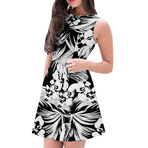 GOWOM Women's Summer Casual Floral Print Geometric Pattern Belted Striped Casual Loose Kaftan Oversized Round Neck Maxi Sundress Long Dress