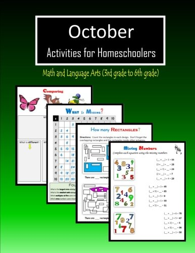 October Activities for Homeschoolers: Math and Language arts (3rd grade to 6th -
