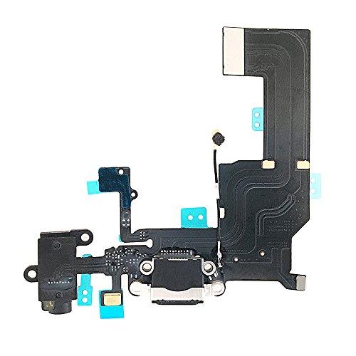 Johncase OEM USB Charging Port Dock Connector Flex Cable + Microphone + Headphone Jack Port + Cellular Antenna Replacement Part Compatible for iPhone 5c (Black)
