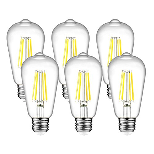 Ascher Vintage LED Edison Bulbs, 6W, Equivalent 60W, 800lm, Daylight White 4000K, ST58 Antique LED Filament Bulbs, E26 Medium Base, Non Dimmable, Clear Glass, Pack of (60w Edison Base Bulbs)