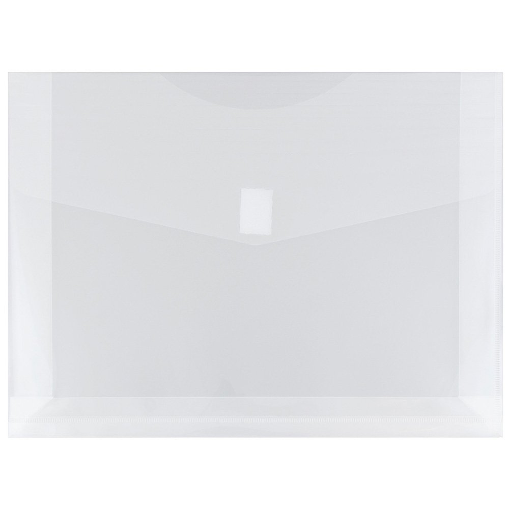 JAM PAPER Plastic Expansion Envelopes with Hook & Loop Closure - Letter Booklet - 9 3/4 x 13 with 2 Inch Expansion - Clear - 12/Pack