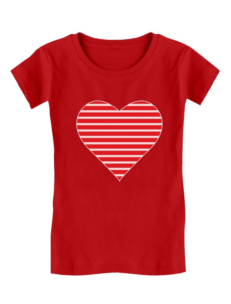 Red Striped Heart Love - Valentine's Day Gift Toddler/Kids Girls' Fitted T-Shirt 3T Red