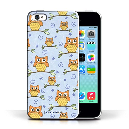 iCHOOSE Print Motif Coque de protection Case / Plastique manchon de telephone Coque pour Apple iPhone 5C / Collection Motif Hibou / Orange/Bleu