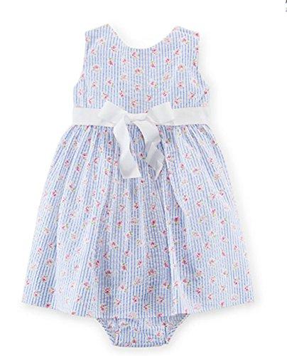Ralph Lauren Baby Girls' Seersucker Dress & Bloomer- White/Blue Multi (24 Months )
