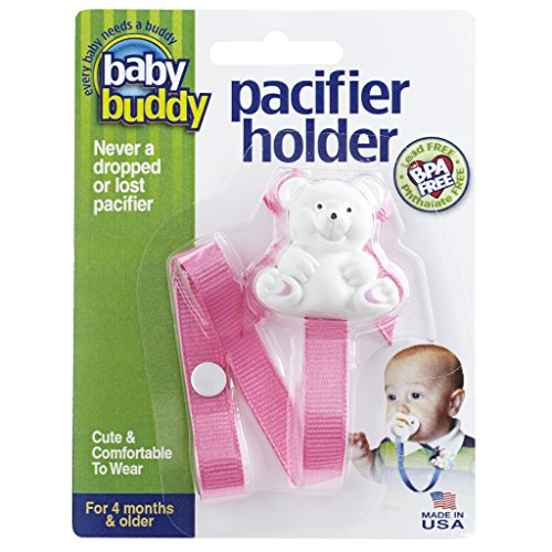Baby Buddy Pacifier Holder Clip - Cute Fashionable Bear Clips onto Baby's Shirt, Snaps to Paci, Teether, Toy - For Babies 4+ Months - Pacifier Clip for Toddlers Boys & Girls, Pink, 1 Count from Baby Buddy