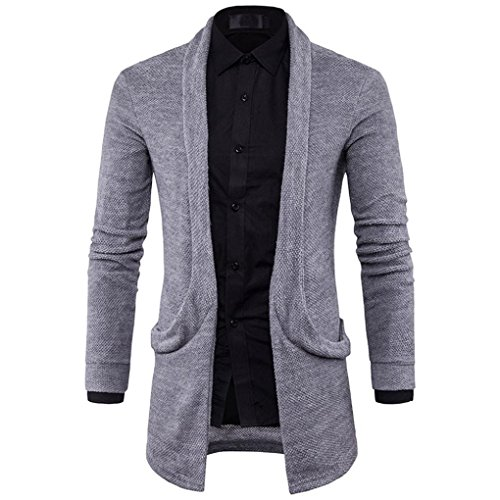HTHJSCO Mens Casual Long Open Front Slim Sweater Cardigan, Mens Sweater Fashion Solid Long Trench Coat Jacket (Gray, L) by HTHJSCO