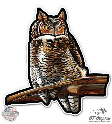 Gt Graphics Great Horned Owl   20    Large Size Vinyl Sticker   Outdoor Indoor Decor