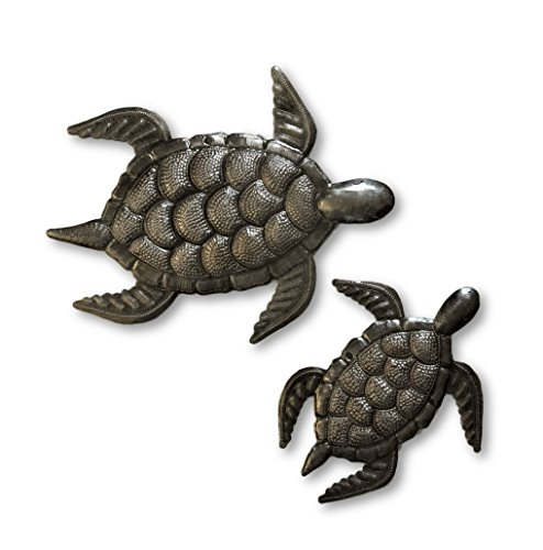 (Sea Turtle Decor, Mom and Baby, Metal sea-Life Home Decor for Indoor and Outdoor, Handmade in Haiti 7.5