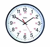 Bates 12-Inch Commercial 12/24 Hour Clock, Battery Powered, Black (7280347027)