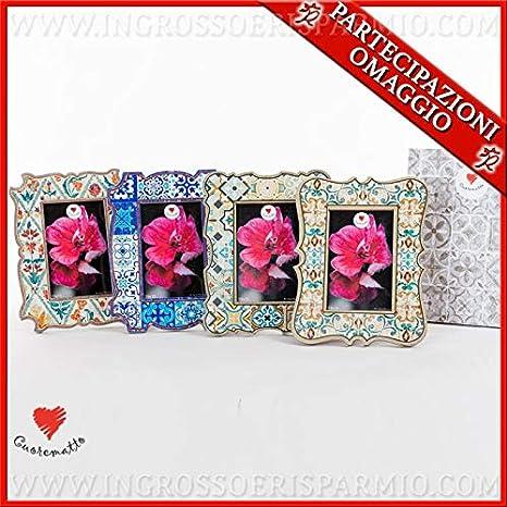 Ingrosso e Risparmio Cuorematto - Portafotos con marco decorado con cerezas de 4 ass, disponible en 2 tamaños, detalles de boda, comunión, con caja de regalo incluida
