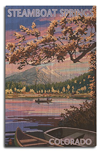 Ruskin352 Steamboat Springs, Colorado - Twilight Lake Scene 10x15 inch Wood Wall Sign, Wall Decor Ready to Hang.