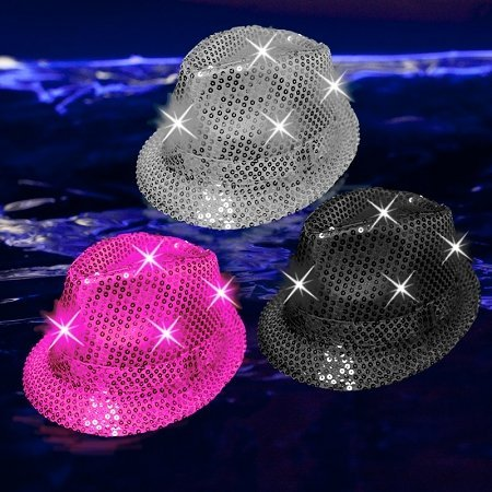 [GLOW Party Fun Light Up Fedora Hat] (Crazy Christmas Hats)