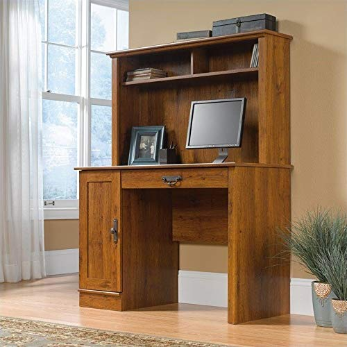 Sauder Harvest Mill Computer Desk with Hutch, Abbey Oak Finish image