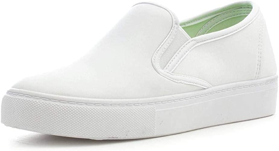 Lilley Womens White Slip On Canvas