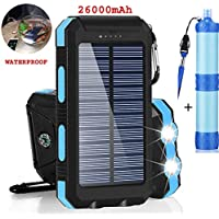 Portable Solar Charger 26000mAh Mini Power Bank Dual USB & Flashlight, Waterproof, Compass, for Android iPhone & Camping Water Filter Straw 1000 Liters Bundle Water Purifier Hiking Survival Smart Kit