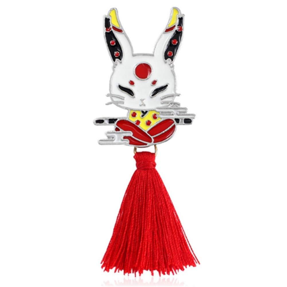 WYLBQM Broche Aleación de Animales Borla Broche Conejo Ninja ...