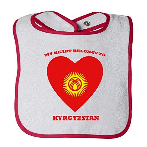Cute Rascals Love Soccer Heart Kyrgyzstan Tot Contrast Trim Terry Bib White Red