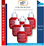 Mercurichrome Siribuncha 2% Merbromin Solution (0.5 Fl Oz X 6 Squeeze Bottles) Safe to Skin with Effective for First Aid to Clean Would in Hospitals, Nursing Homes and Veterinary Clinics