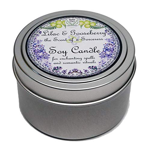 Lilac and Gooseberry Scented Soy Candle Tin | 5 ounces Hand Poured | Clean Burning Soy Wax | Yennefer Scent of a Sorceress by Bella Des Natural Beauty
