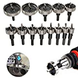 Hole Saw Kit, MYSWEETY 13 Pcs HSS Drill Bit Hole Saw Set for Stainless, Metal, Wood, 5/8''- 2 1/9''