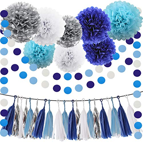 Blue Silver White Tissue Pom Poms 30pcs Paper Flowers Tassel Paper Garland Navy Blue White Baby Blue Circle Garland Kit for Baby Shower Decoration Wedding Nursery Decorations -