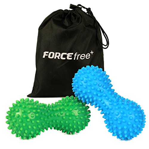 Forcefree+ Spiky Massage Balls (2 Set, Green Hard, Blue Soft), Deep Tissue Foot Back Massager - Peanut Shape Lacrosse Balls Perfect for Therapy Planter Fasciitis, Mobility, Acupressure, Muscle Relaxer