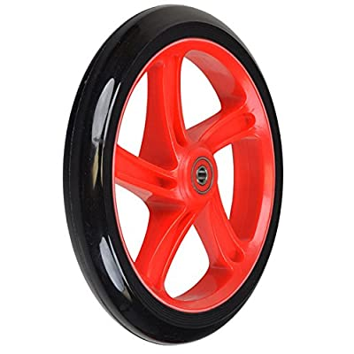 "Replacement Wheel for the Razor A5 Lux Kick Scooter 200 mm (8""): Black Wheel with RED Hub"