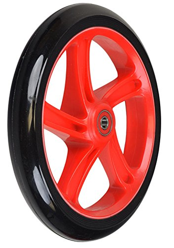 Replacement Wheel for the Razor A5 Lux Kick Scooter 200 mm (8''): Black Wheel with RED Hub by California-Toys.com