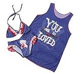 Tingping Baby Girl Swimsuit Bikini+Sleeveless Swim coverup 3Pcs