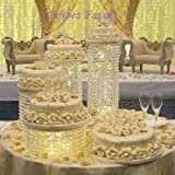 Set of 4 Acrylic Crystal Chandelier Cake Stand By Forbes Favors Asian Style With Battery LED Lights for Wedding Cake, Anniversary or Special Occasion ( 6'', 8'', 10'' & 12'' Diameters )